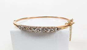 Antique 14k gold rose cut diamond bangle bracelet