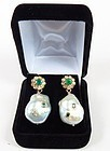 14k gold emerald diamond baroque pearl earrings