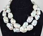 Large baroque pearl 18k gold diamond necklace