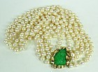 Estate 14k gold carved jade baroque pearl necklace