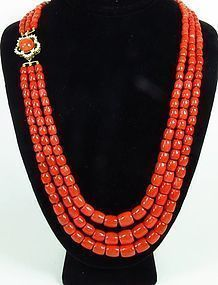 3 strand red coral bead necklace 14k gold diamond clasp