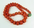 19th Century Chinese 14k coral jade necklace