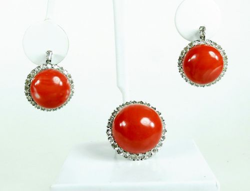 Large antique 14k gold coral diamond earrings ring set