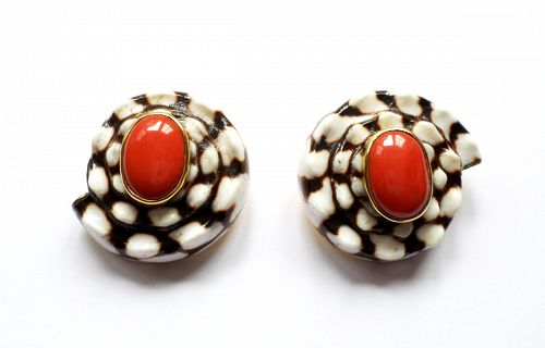 Sorab & Roshi 18k gold shell and red coral earrings