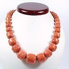 Large Chinese Momo salmon coral bead necklace