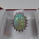 Estate 14k gold natural opal 1.8ct diamond halo ring