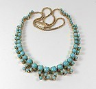Art Deco 18k gold Persian turquoise necklace