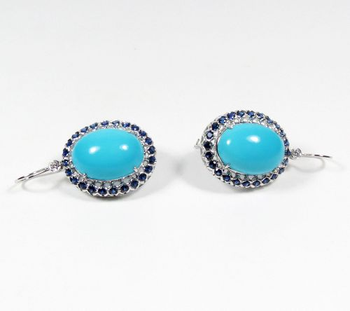 18k gold turquoise 2ctw sapphire diamond earrings