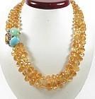 Seaman Schepps 14k gold citrine turquoise necklace