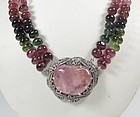 Antique Chinese Export silver tourmaline bead necklace