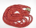 Large 5 strand red Mediterranean coral bead necklace 18k clasp