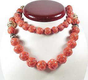 18k gold diamond carved natural Momo Coral bead necklace 199 gr