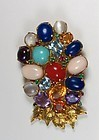 Large 20k gold multi gemstone pendant brooch coral moonstone