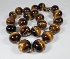 Vintage Tiger's Eye bead necklace huge unify beads silver clasp