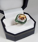 Estate 14k gold Citrine Diamond Tsavorite Garnet cocktail ring