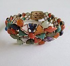 Rare Chinese Export silver coral turquoise amethyst bracelet