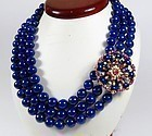 Estate, 18k gold ruby, diamond, lapis lazuli bead necklace