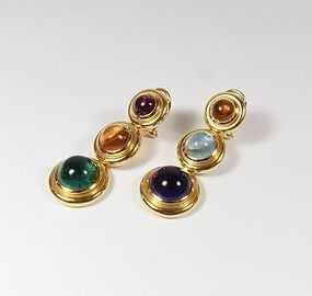 Rare Paloma Picasso Tiffany & Co 18k gold multi gemstone earrings