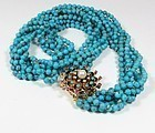Estate 14k gold turquoise diamond ruby pearl torsade necklace