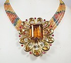 Large, retro, 18k gold, citrine, sapphire, ruby, diamond necklace