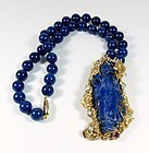Vintage Chinese 14k gold carved lapis lazuli aquamarine necklace