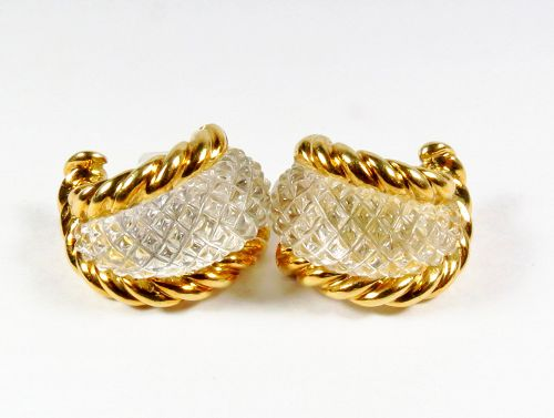 Sabbadini Italy 18k yellow gold and carved crystal earrings