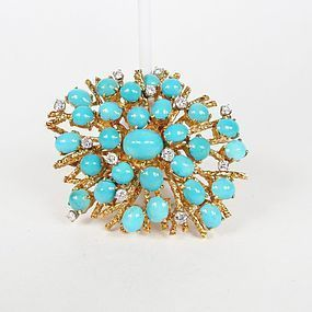 Large 18k yellow gold, Persian turquoise diamond brooch pin