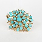 Large 18k yellow gold, Persian turquoise diamond brooch pin