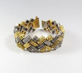 Emil Meister Swiss, massive, 18k yellow and white gold bracelet