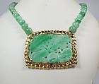 Vintage, Chinese 14k gold carved jadeite jade bead necklace