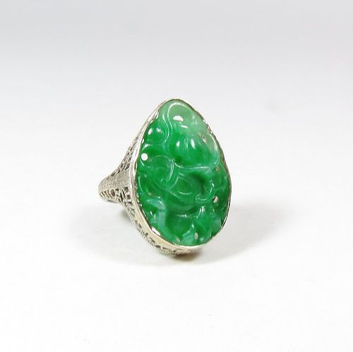 Antique, Chinese, 14k filigree gold carved jadeite jade ring