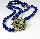 Estate, 18k gold diamond, natural lapis lazuli bead necklace