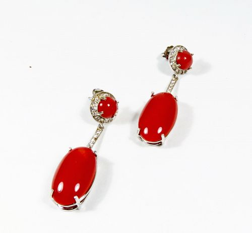 18k gold, natural oxblood red coral, diamond dangle earrings