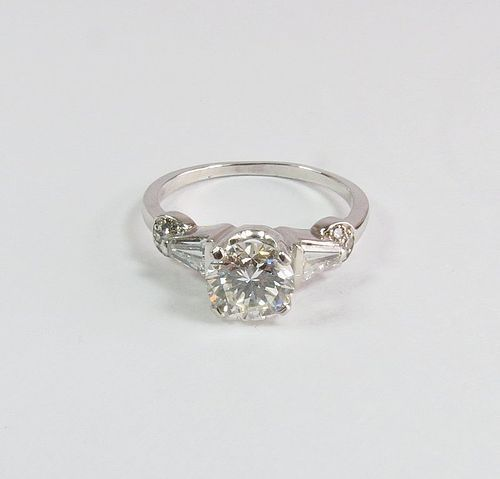 Art Deco, platinum, 1.43ctw diamond engagement, ring. Certified.