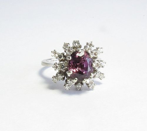Estate 18k white gold diamond amethyst ring
