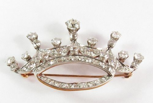 Antique 14k gold and 2.8ctw diamond crown brooch pendant