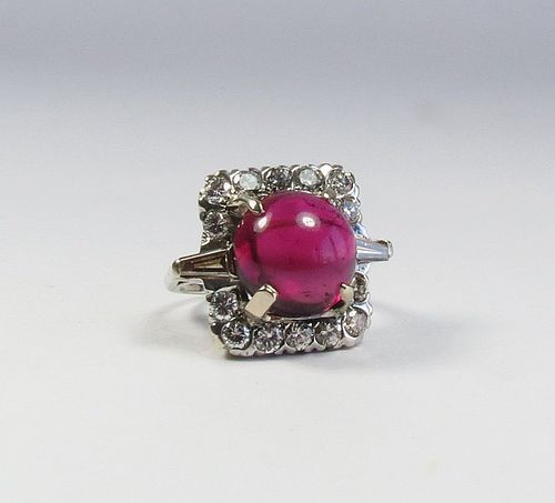 Estate 14k gold pink tourmaline diamond cocktail ring