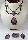 Art Nouveau, Chinese, silver, carved amethyst necklace earrings pin