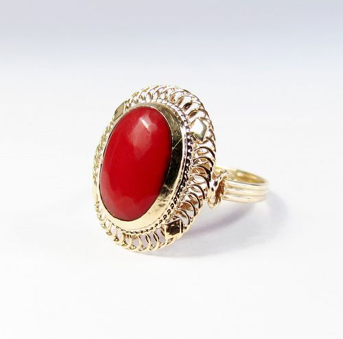 Vintage, estate, 14k yellow gold, natural oxblood, red coral ring