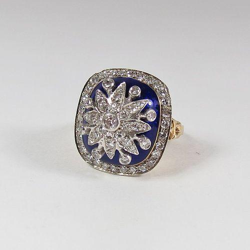 Antique 14k gold, royal blue enamel,  diamond cocktail ring