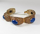 Chinese Export, vermeil silver and natural Lapis Lazuli bracelet