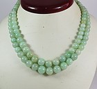 Vintage, Chinese 2 strand natural jade bead necklace sterling clasp