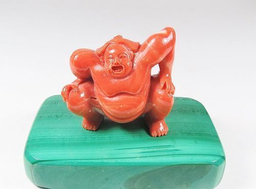 Vintage, Asian, natural Momo coral sumo man figurine malachite base