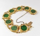 Rare, Deco 24k solid gold and emerald green jade dragon bracelet