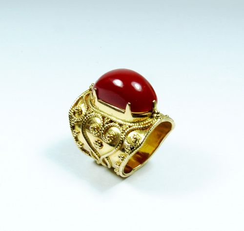 Large, solid 22k gold and natural oxblood red Aka coral ring