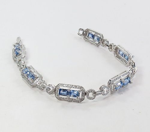 Estate 18k gold, 12ctw natural sapphire and diamond link bracelet