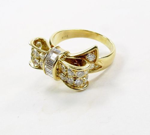 Estate Tiffany & Co 18k gold diamond ribbon ring