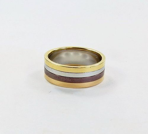 Estate, Boucheron 18k gold, stainless steel wedding stacking band ring