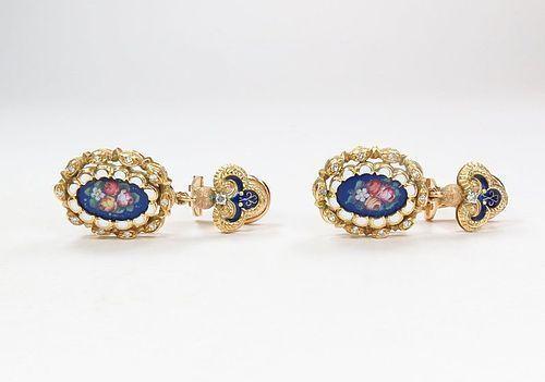 Antique, 18k yellow gold, diamond, enamel flower dangle earrings