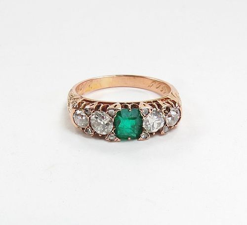 Antique, 18k rose gold emerald diamond ring